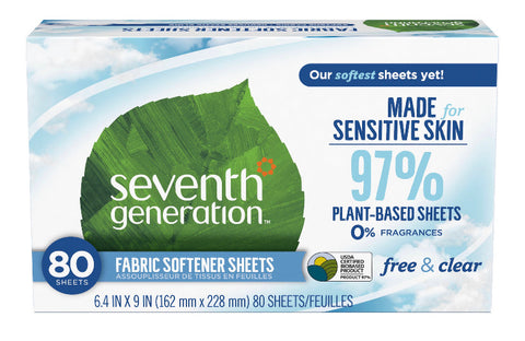 Seventh Generation Free 'N Clear Plant-Based Dryer Sheets