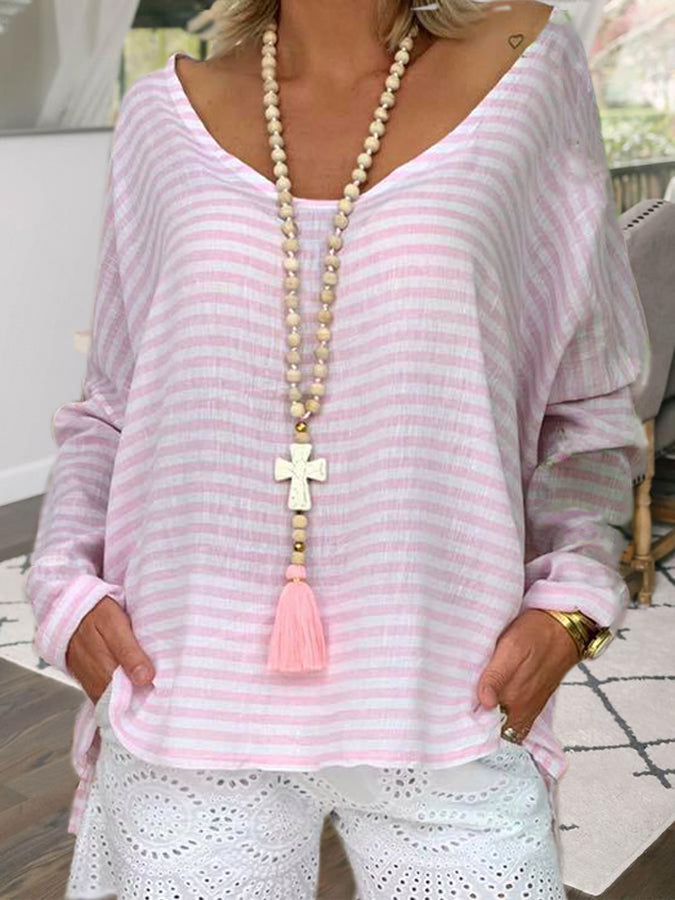 Pink Holiday Cotton V Neck Striped Shirts & Tops