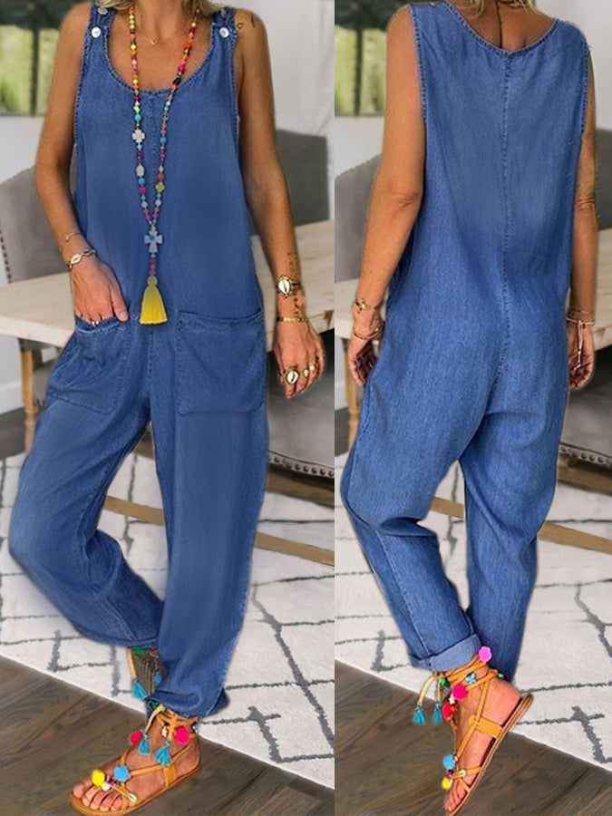Denim Blue Solid Buttoned Shift Casual One-Pieces
