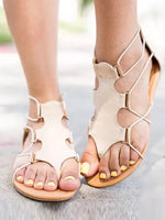 Casual Summer Zipper Flat Heel Sandals