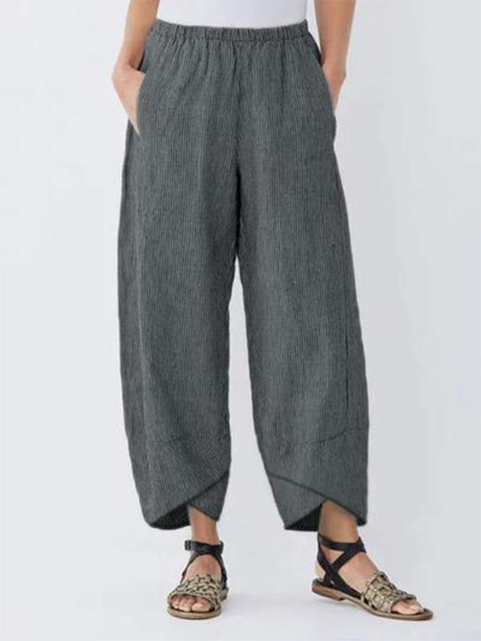 Solid Gathered Casual Pants