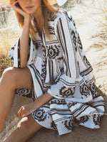 Black V Neck Printed Cotton-Blend Holiday Dresses