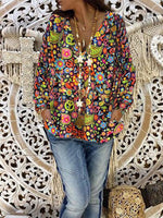 Multicolor Floral V Neck Holiday Cotton Shirts & Tops