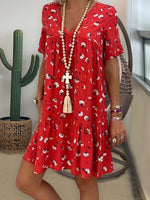 Red Short Sleeve Cotton Floral Backless Dresses