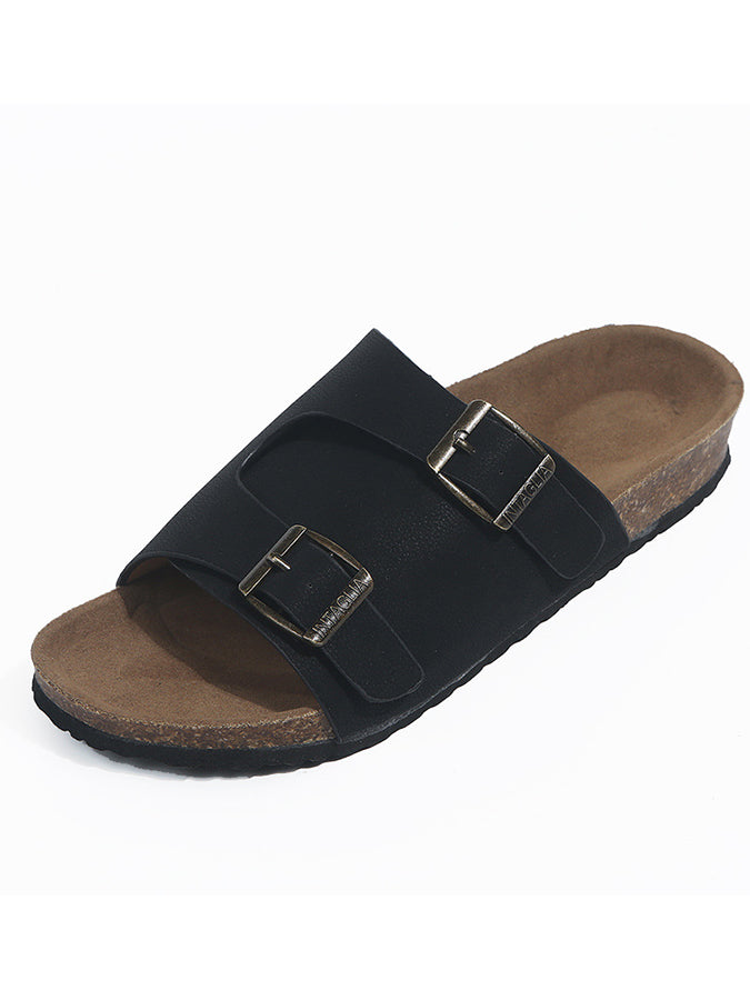 Buckle Artificial Pu Slippers