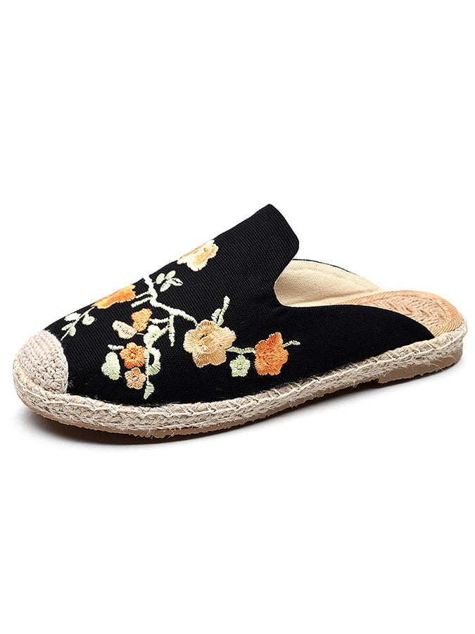Cloth Floral Embroidered Slippers