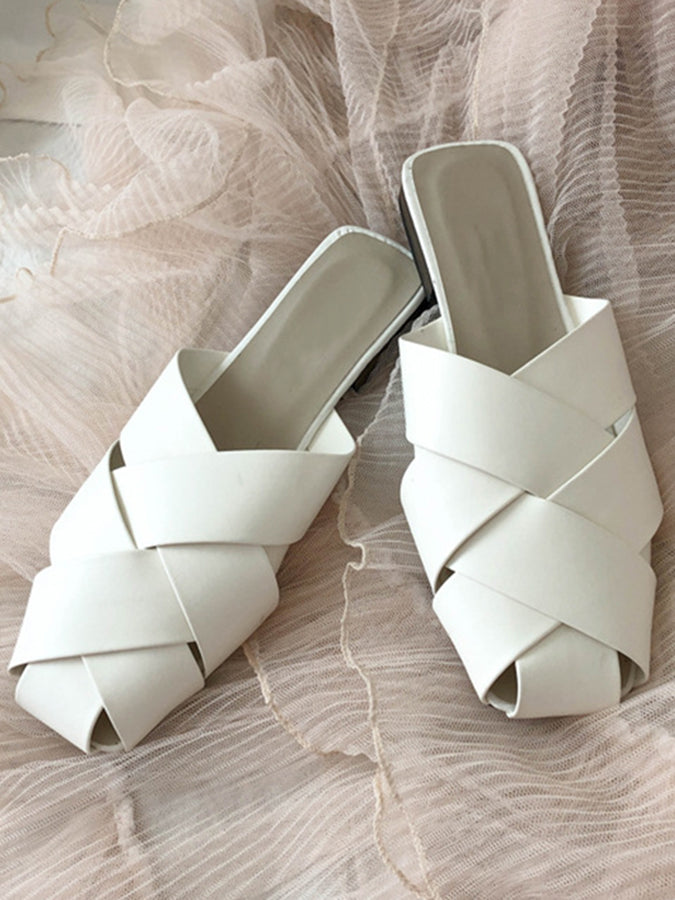 Solid Flat Heel Slippers
