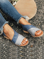 Artificial Pu Color Block Flat Heel Summer Sandals
