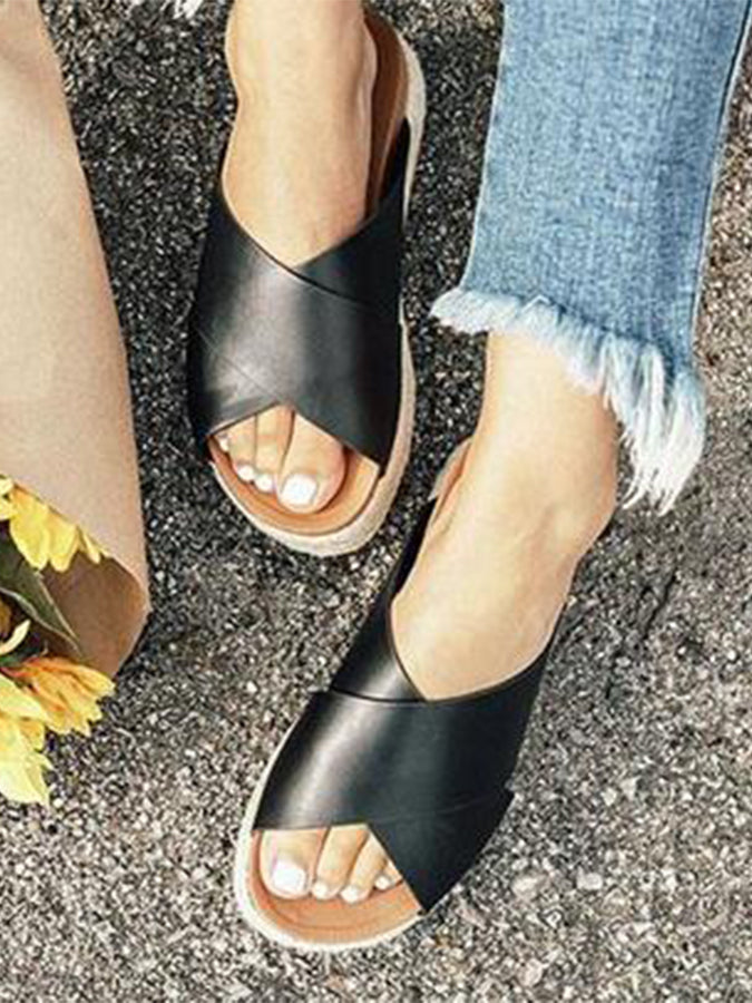 Summer Artificial Pu Flat Heel Solid Slippers