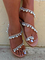 Sliver Imitation Pearl Beach Flat Heel Sandals