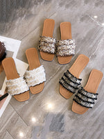 Flat Heel  Imitation Pearl Daily Slippers