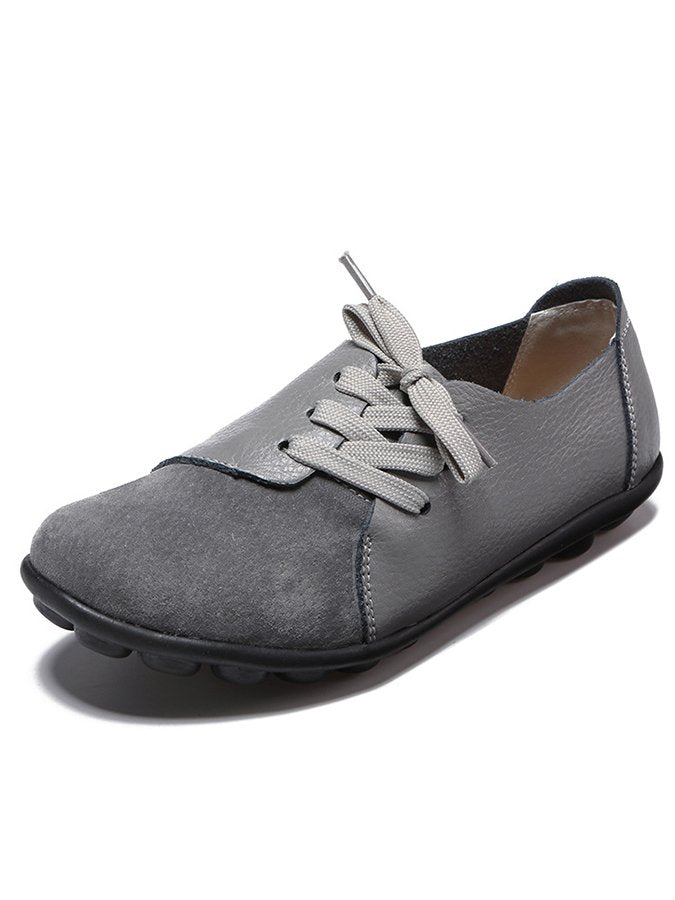 Large Size Women Casual Soft Lightweight Splicing Leather Lace Up Flats Loafers