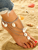 Shell fringed multi-layer toe beach anklets