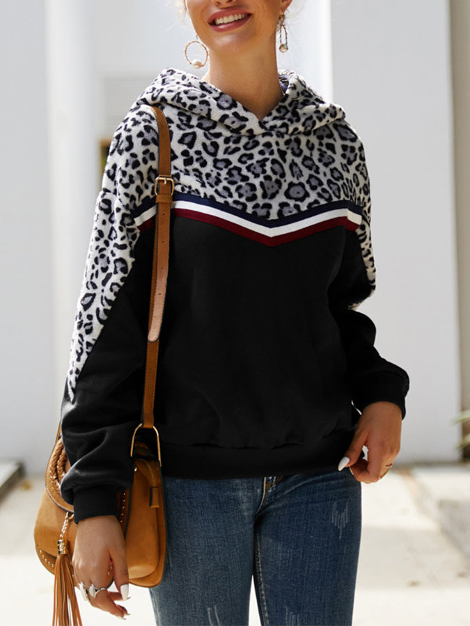 Leopard Print Long Sleeve Shift Sweatshirt