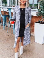 Leopard Print Shift Casual Outerwear
