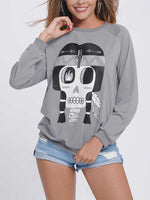 Casual Skeleton Print Crew Neck Overhead Sweatshirt