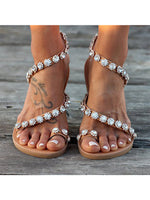 Flat Heel Rhinestone Summer Beach Sandals