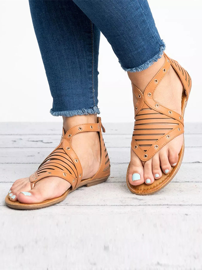 Beach Solid Artificial Pu Flat Heel Sandals