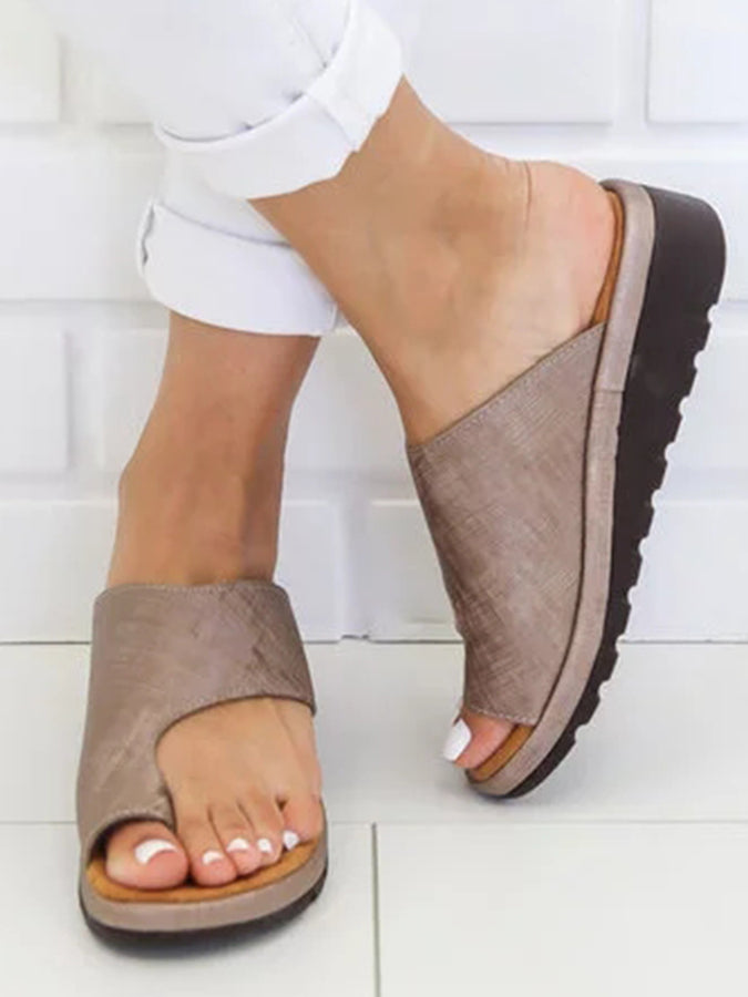 Wedge Heel Solid Slippers
