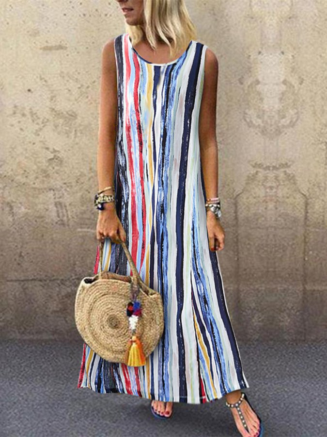 Geometric Boho Sleeveless Printed Dresses