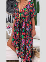 Flower V Neck Cotton Floral Short Sleeve Dresses