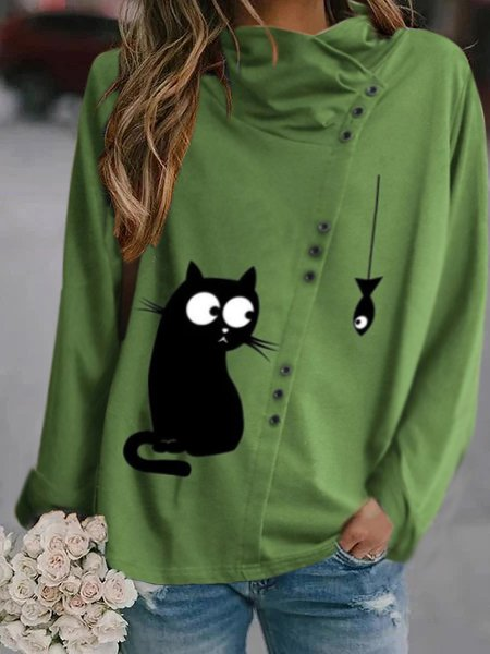 Cartoon Cat Print Button Heap Collar Casual Plus Size Blouse