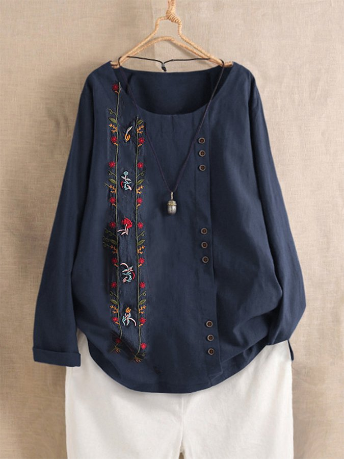 Round Neck Buttoned Shift Holiday Shirts & Tops