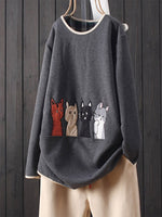 Embroidery Cat Long Sleeve Casual Sweatshirt