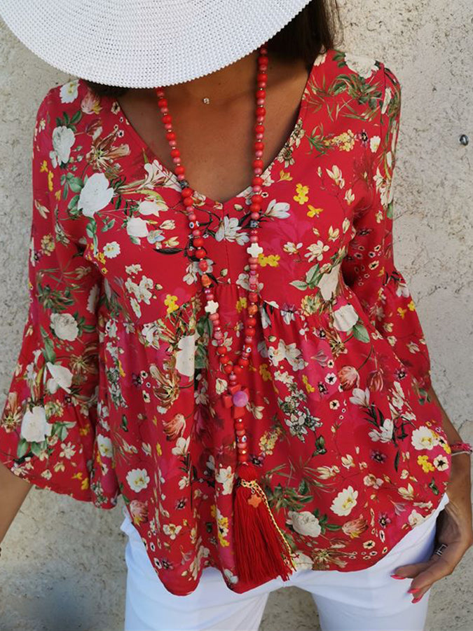 Red 3/4 Sleeve Geometric Holiday Cotton Shirts & Tops