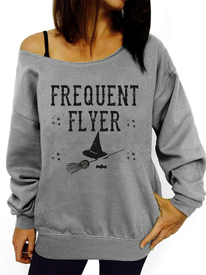 Long Sleeve Holiday Off Shoulder Hoodies&sweatshirts