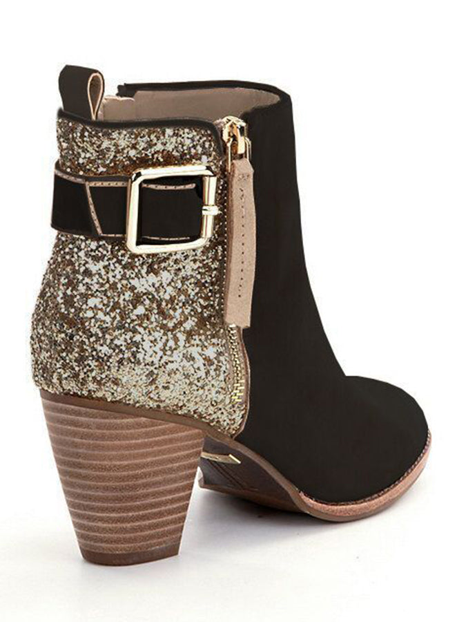 Zipper Chunky Heel Shoes