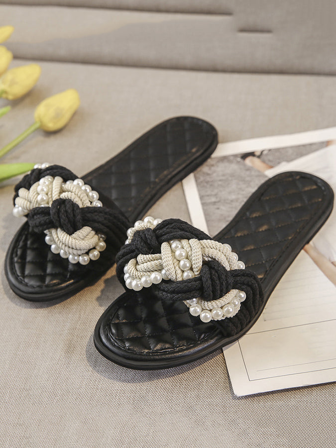 Black Casual Imitation Pearl Spring/fall Slippers