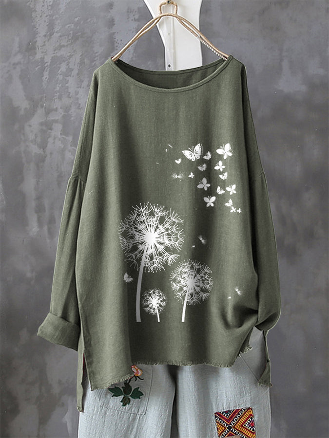 Casual Print Butterfly Flower Long Sleeve T-Shirt