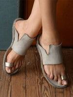 Gray Casual Flat Heel Solid Summer Sandals