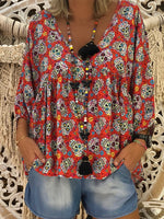 3/4 Sleeve Printed Abstract V Neck T-Shirt & Blouse