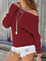 Cotton Sexy Knitted Long Sleeve Sweater