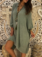 Cotton Casual Long Sleeve Solid Dresses
