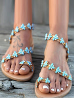 Green Beach Summer Sequin Sandals