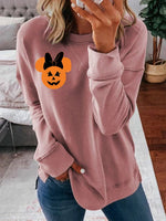 Halloween mickey round collar long sleeve shirt and top
