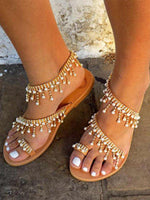 Brown Imitation Pearl Artificial Pu Beach Summer Shoes