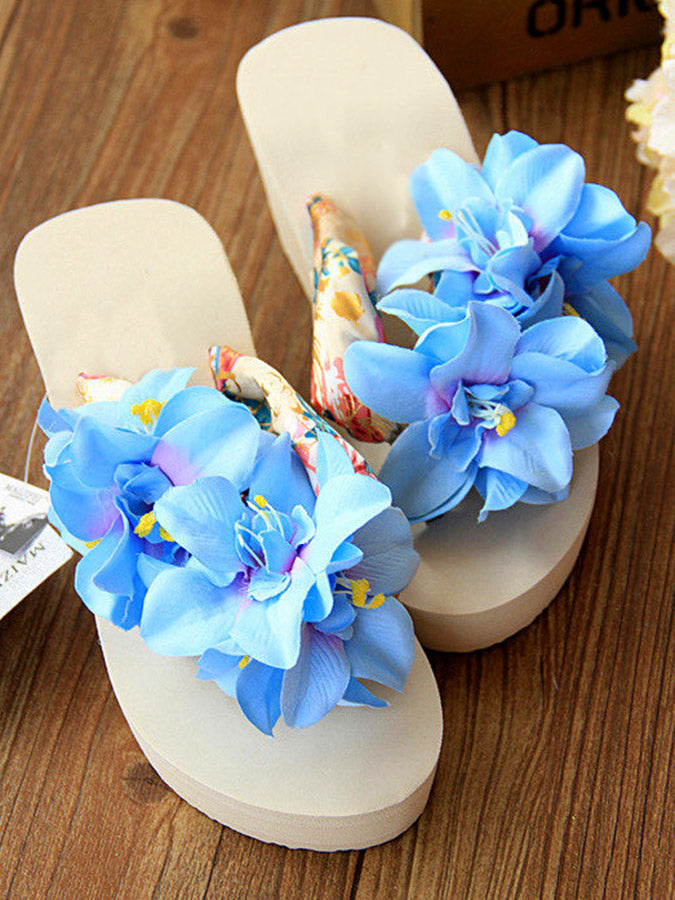 Summer Flower Wedge Heel Slippers