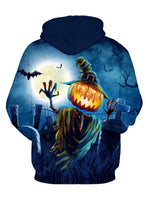 Halloween Pumpkin Pattern Hooded Long Sleeve Women Hoodie