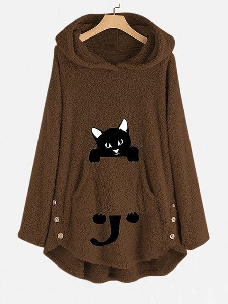 Funny Cat Pocket Overhead Hoodies