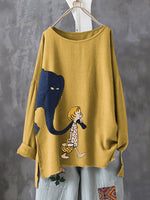 Print Cartoon Elephant Irregular Plus Size T-shirt