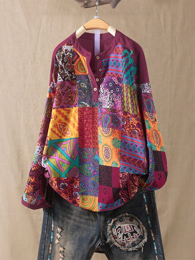 Ethnic Style Floral Print Patchwork Cotton Plus Size Shirt