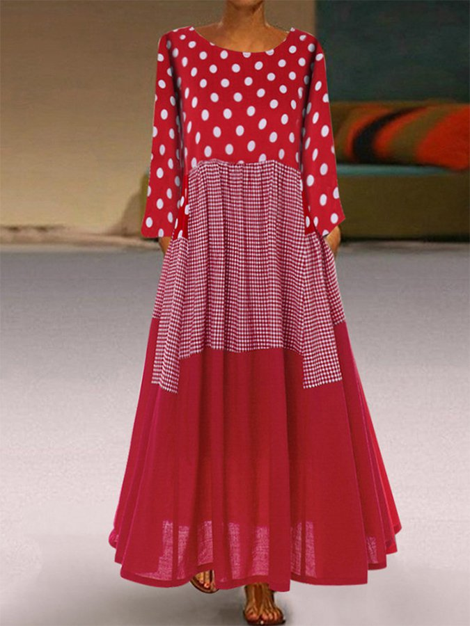 Holiday Swing Round Neck Polka Dots Dresses