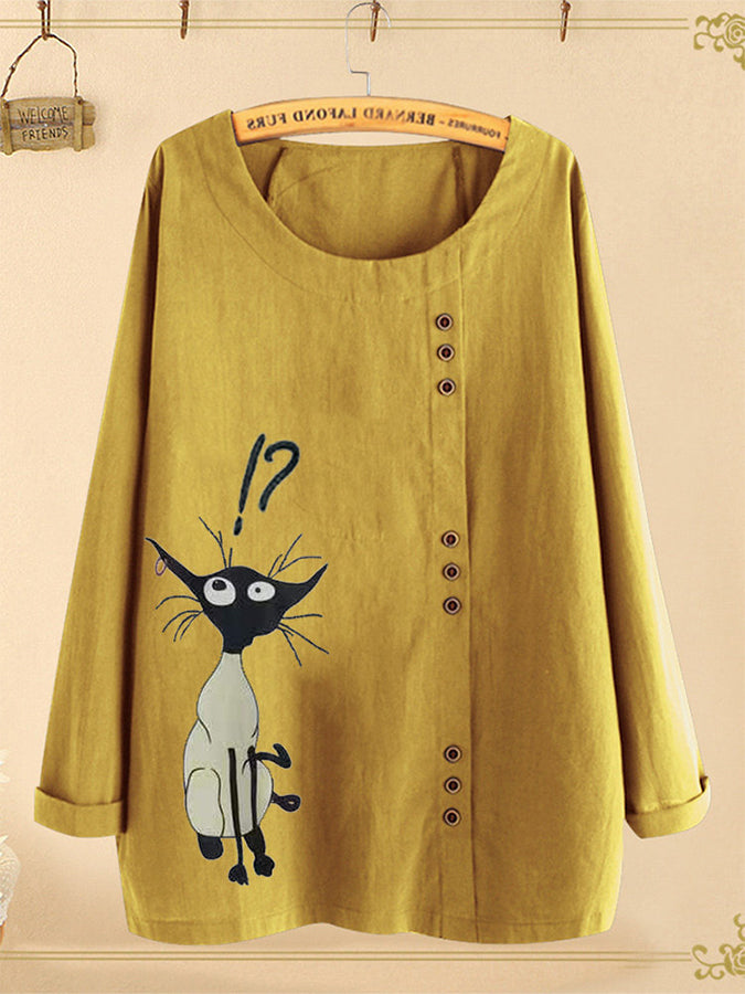 Cartoon Cat Print Long Sleeve Button Blouse For Women