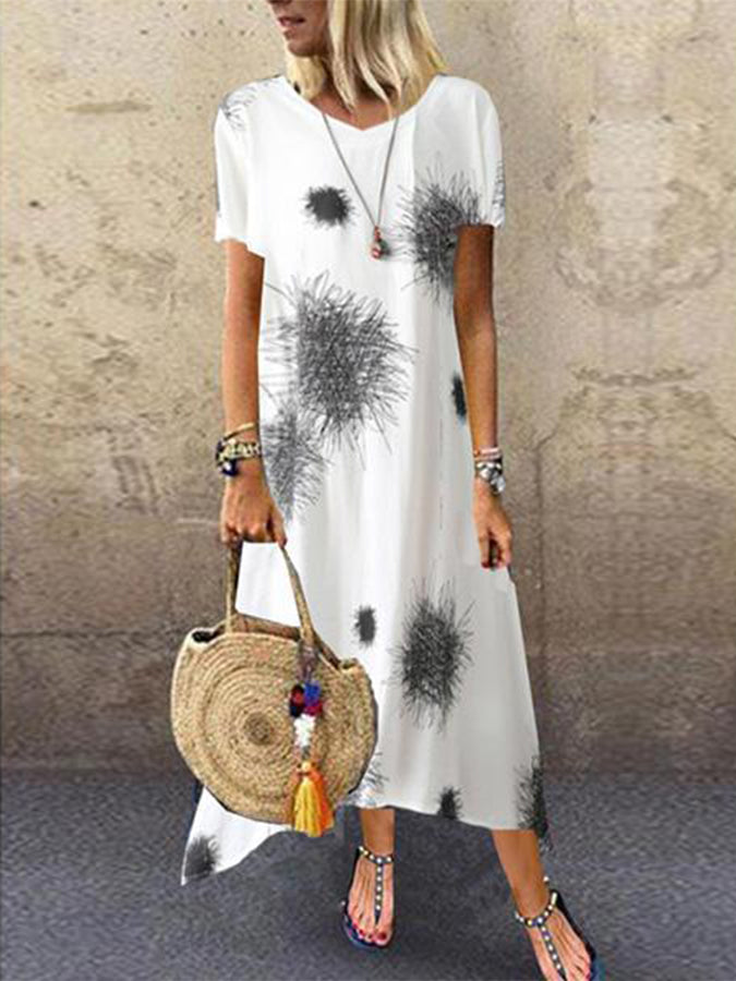Abstract Round Neck Shift Holiday Dresses