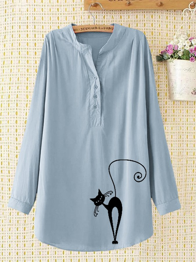 Print Cat Button Long Sleeve Casual Blouse