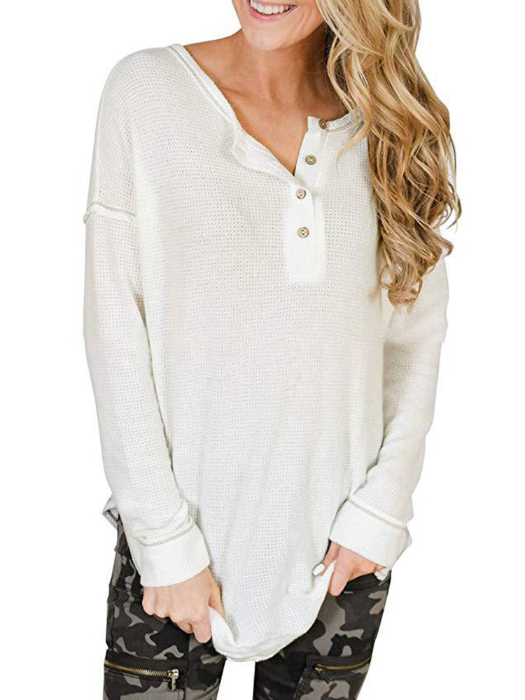 Simple Shift Crew Neck Long Sleeve Shirts & Tops